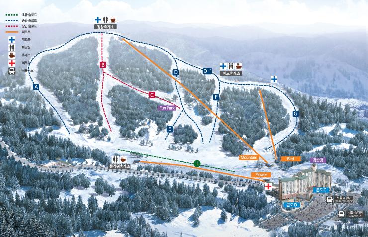韓國橡樹谷滑雪場地圖