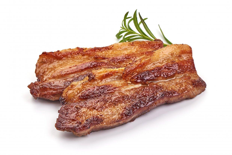Roasted,Pork,Bacon,,Isolated,On,White,Background
