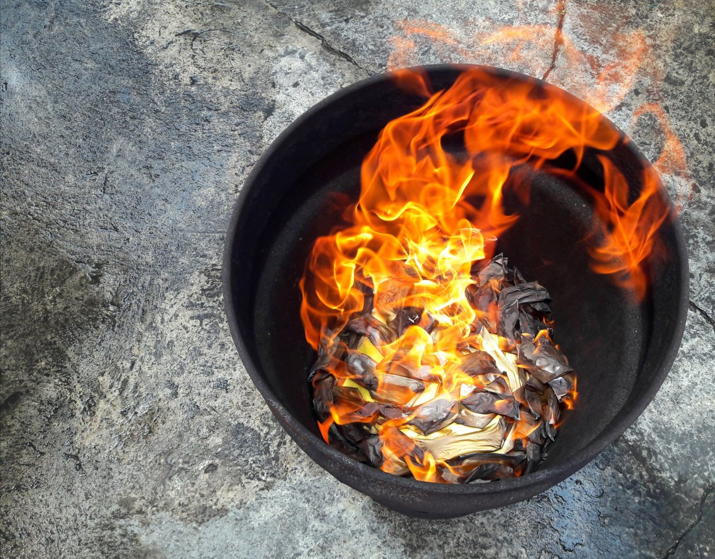 Chinese,Believe ,Joss,Paper,Burning,In,Metal,Bucket,For,Dead