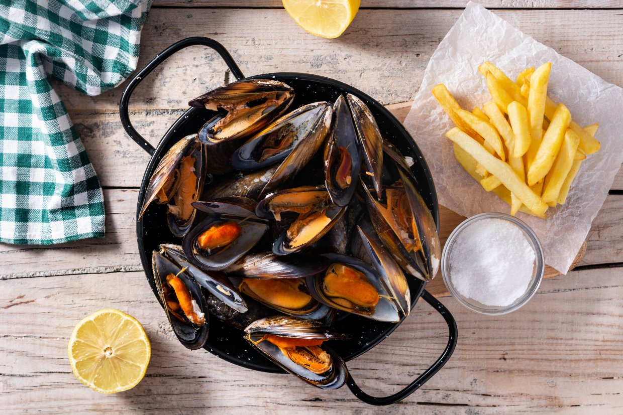Moussels,And,French,Fries,Or,Molues Frites ,Typical,Belgian,Food ,Top
